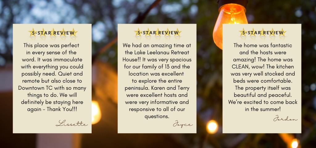 Lake Leelanau Retreat House Reviews